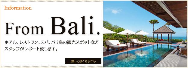 ホテル、レストラン、スパ、バリ島の観光スポットなどスタッフがレポート致します。